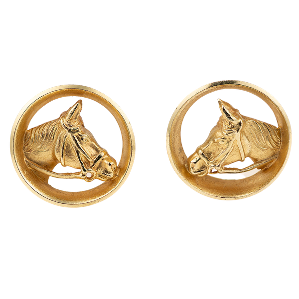 Vintage Piaget Equestrian Cufflinks 18 Carat Gold Horses Head framed by a Winning Post, English circa 1970. - image 1