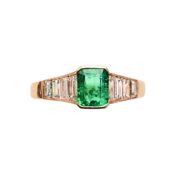 A Colombian Emerald Diamond Ring - image 1