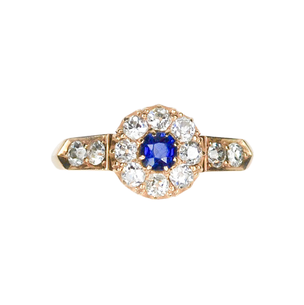 An antique Sapphire and Diamond Cluster Ring - image 3