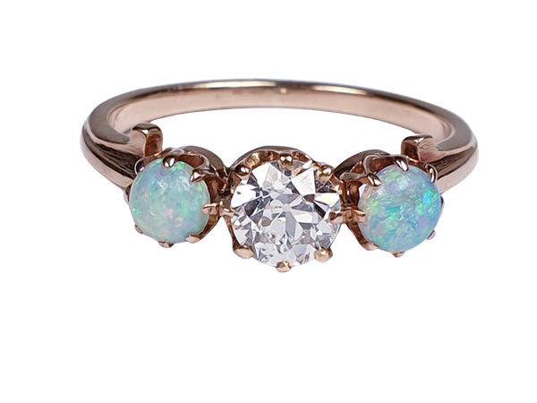 antique opal and diamond ring  DBGEMS - image 1