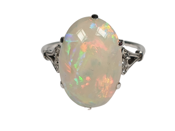 Edwardian opal and diamond dress ring  DBGEMS - image 1