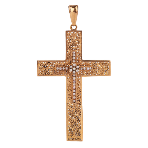 An Art Nouveau Openwork Gold Cross - image 1