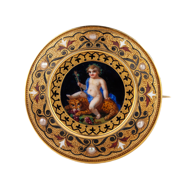 An 1860s Gold and Pearl Cherub Brooch - image 1