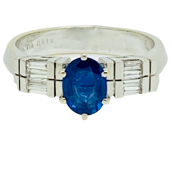 18K white gold 1.50ct Natural Blue Sapphire and 0.15ct Diamond Ring - image 1