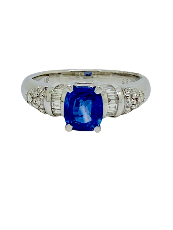 18K white gold 2.86ct Natural Blue Sapphire and 0.32ct Diamond Ring - image 1