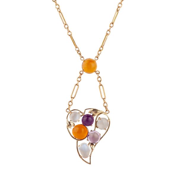 A Fire Opal, Amethyst and Moonstone Gold pendant - image 1
