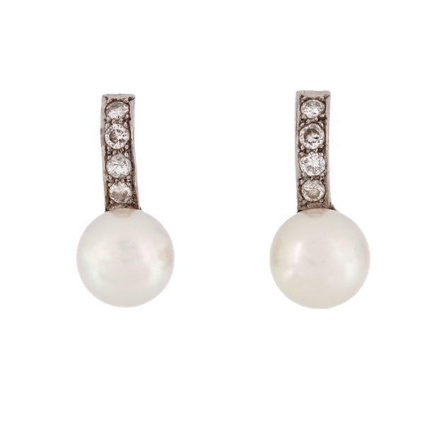 A pair of 1910 Diamond and Pearl Drop Earrings - image 1