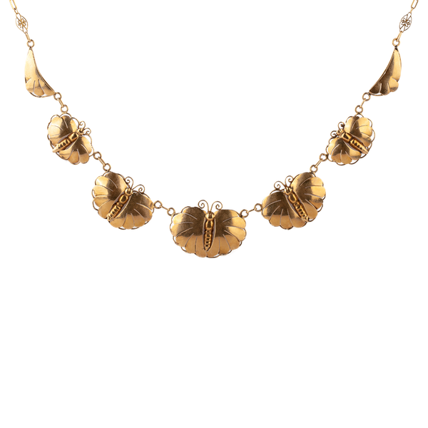 French fine gold butterfly necklace - image 1