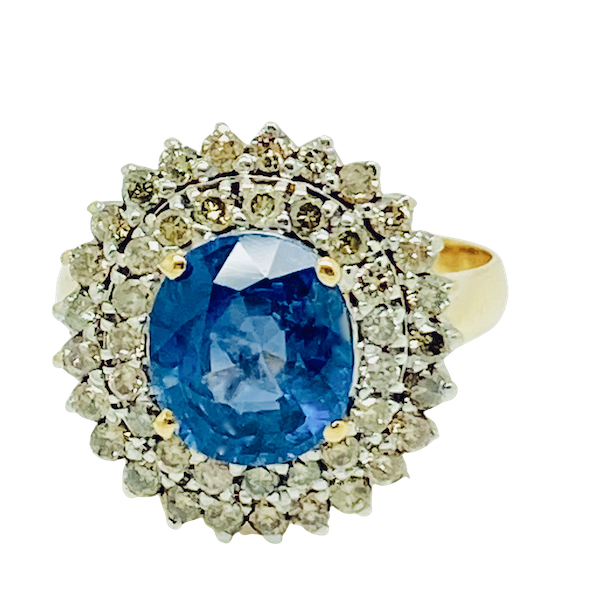 18K yellow gold 3.00ct Natural Blue Sapphire and 1.00ct Diamond Ring - image 1