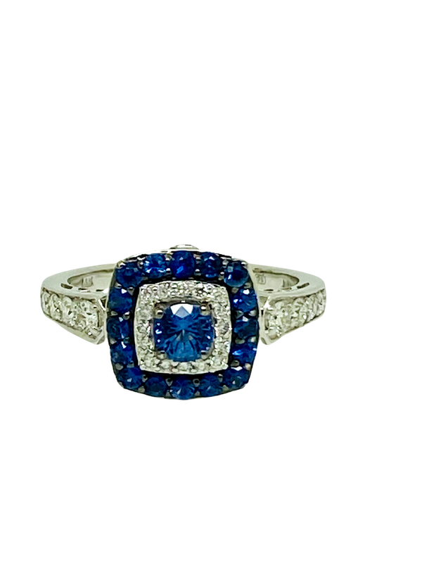14K white gold 0.50ct Natural Blue Sapphire and 0.75ct Diamond Ring - image 1
