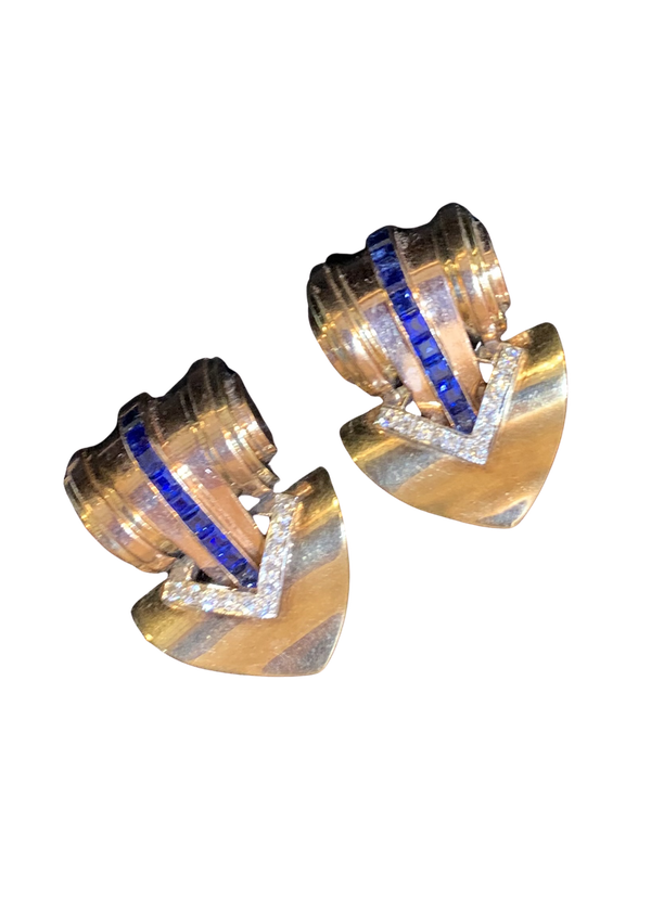 A pair of Sapphire and gold signed Tiffany dress clips - image 1