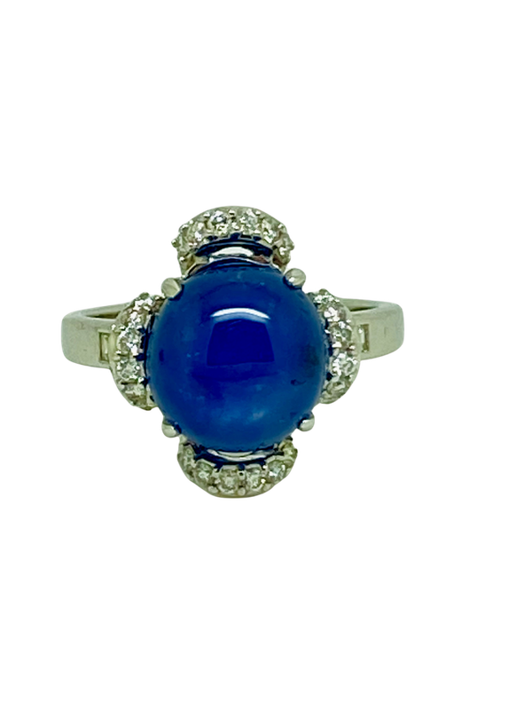 18K white gold 7.66ct Natural Cabochon Blue Sapphire and 0.39ct Diamond Ring - image 1