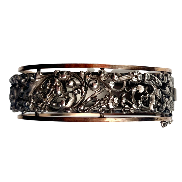 An Art Nouveau French Silver and Gold Bangle - image 1