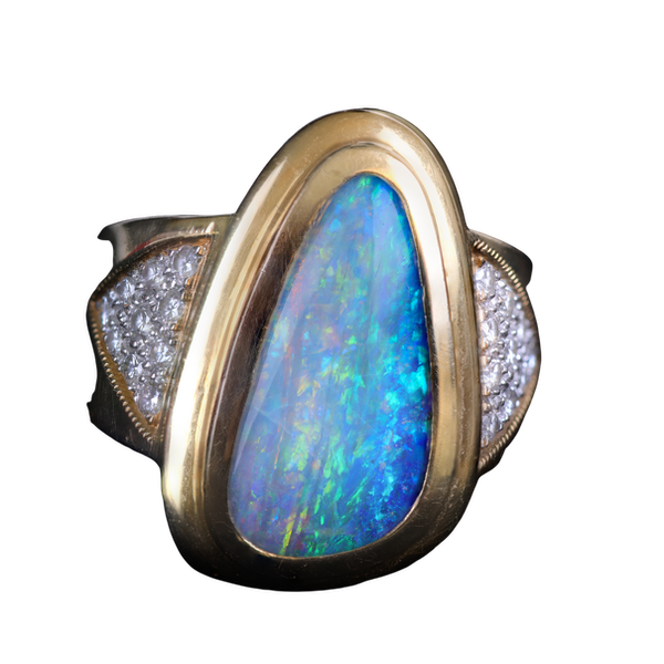 Opal & diamond ring - image 1