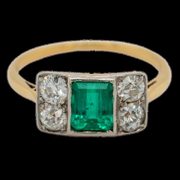 Emerald and diamond tablet shape Art Deco ring - image 1
