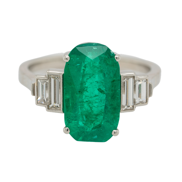 Emerald and diamond oval Art Deco ring with emerald  4.50 ct est. - image 1