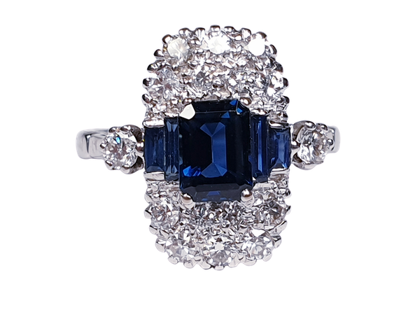 French Art Deco Sapphire and Diamond Ring  DBGEMS - image 1
