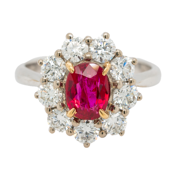 Ruby and diamond modern cluster ring - image 1