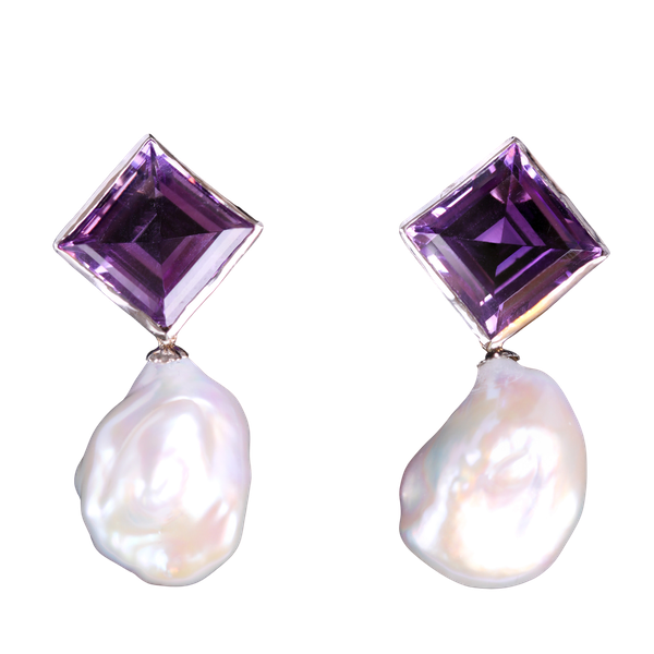 Baroque pearls Andrew's amethyst earrings - image 1