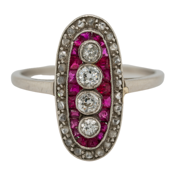 Ruby and diamond Art Deco oval shape platinum ring - image 1