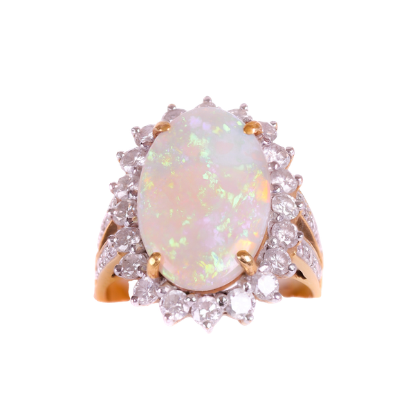 Opal and diamond ring - image 1
