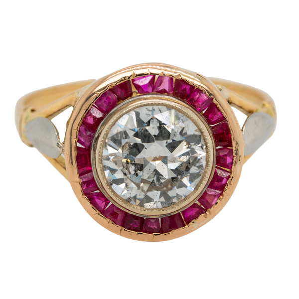 Diamond and ruby  calibre - cut ring with 1.55 ct est. diamond centre - image 1