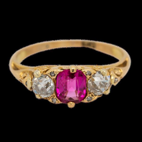 3 stone Burma ruby and diamond  carved half hoop ring - image 1