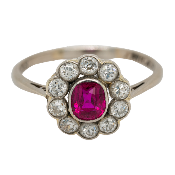 Edwardian ruby and diamond cluster ring - image 1