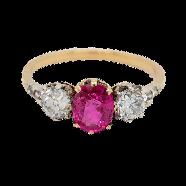 3 stone Burma Ruby and diamond Victorian ring - image 1