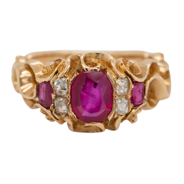 Victorian Burma ruby and diamond ring with certificate - image 1