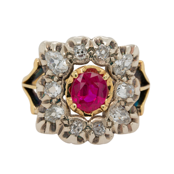 Victorian ruby and diamond rectangular cluster  ring. - image 1