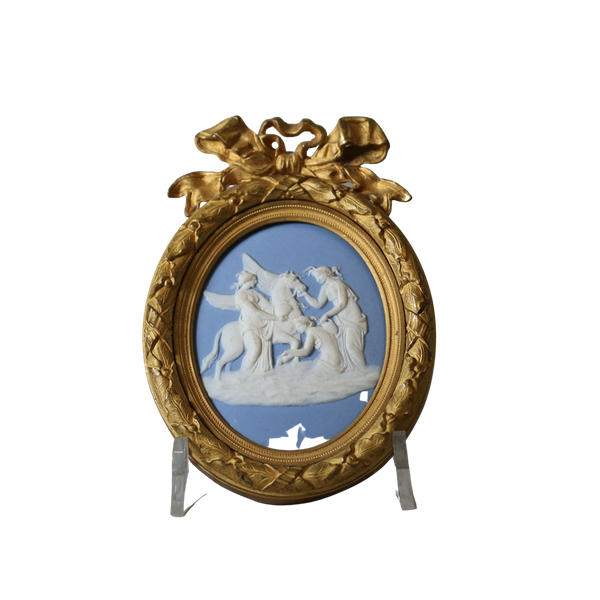 Wedgwood blue jasper oval plaque sprigged in white - image 1