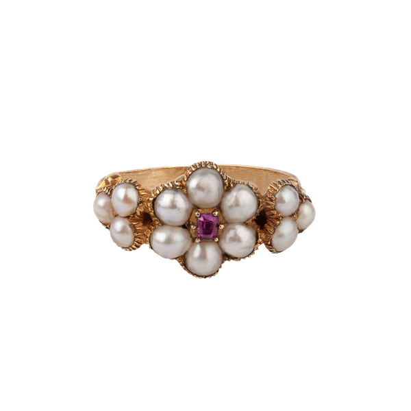 Georgian ruby and pearl ring - image 1