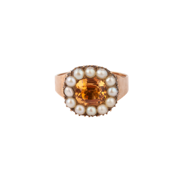 Georgian topaz and pearl ring - image 1