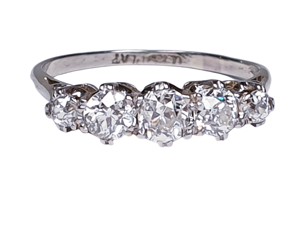 Art Deco Five Stone Diamond Ring  DBGEMS - image 1