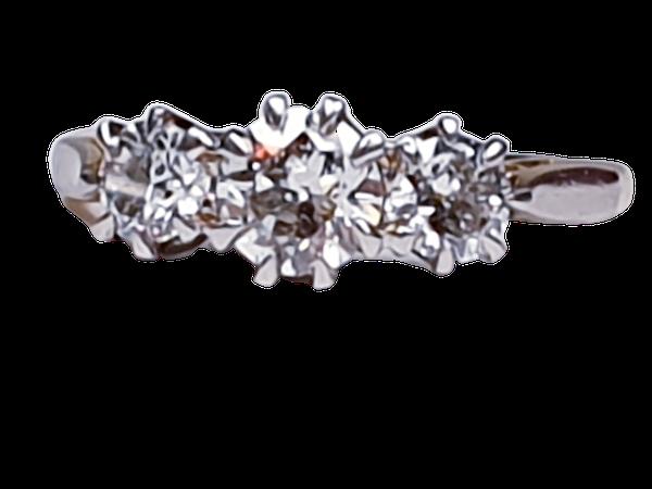 Victorian Old Cut Diamond Three Stone Diamond Ring  DBGEMS - image 1