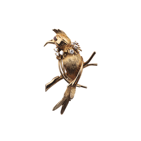 Ruby, diamond & 18ct gold bird brooch at Spectrum Antiques - image 1