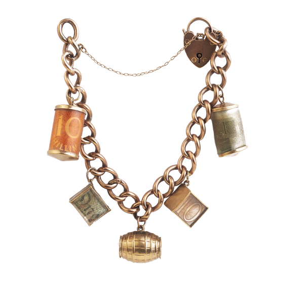9ct Edwardian Gold Charm Bracelet. Spectrum Antiques - image 1