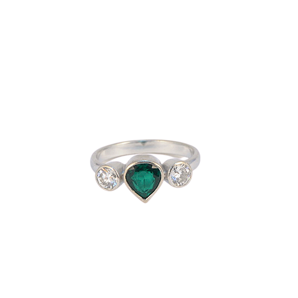 1970's, 18ct White Gold Emerald and Diamond stone set Ring, SHAPIRO & Co since1979 - image 1