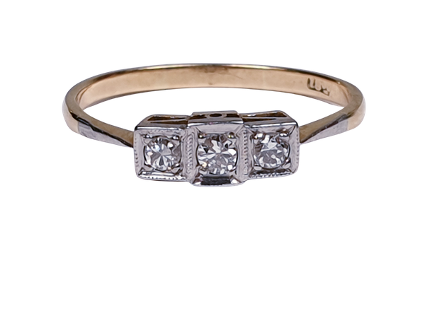 Edwardian Three Stone Diamond Ring  DBGEMS - image 1