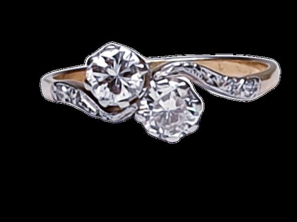 Edwardian Two Stone Diamond Cross Over Engagement Ring  DBGEMS - image 1