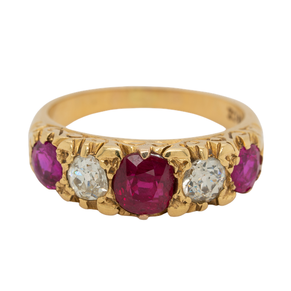 5 stone ruby and diamond ring - image 1