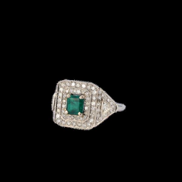1920's, Platinum & 18ct White Gold, Emerald & Diamond stone set Ring, SHAPIRO & Co since1979 - image 1