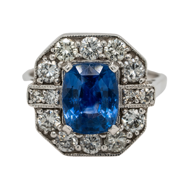 Sapphire and diamond ring, rectangular shape with cut corners - image 1