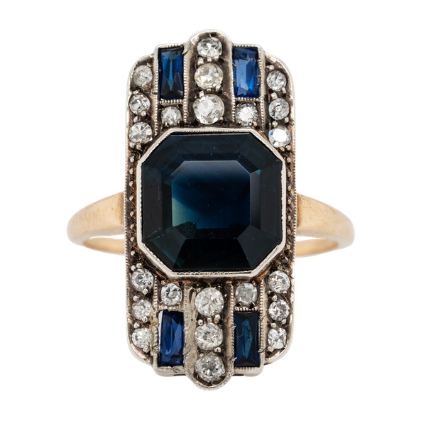 Art Deco sapphire and diamond tablet ring - image 1