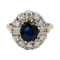 Sapphire and diamond oval cluster ring - image 1