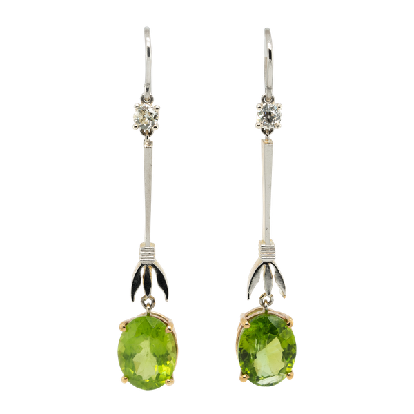 Peridot and diamond dangly earrings - image 1
