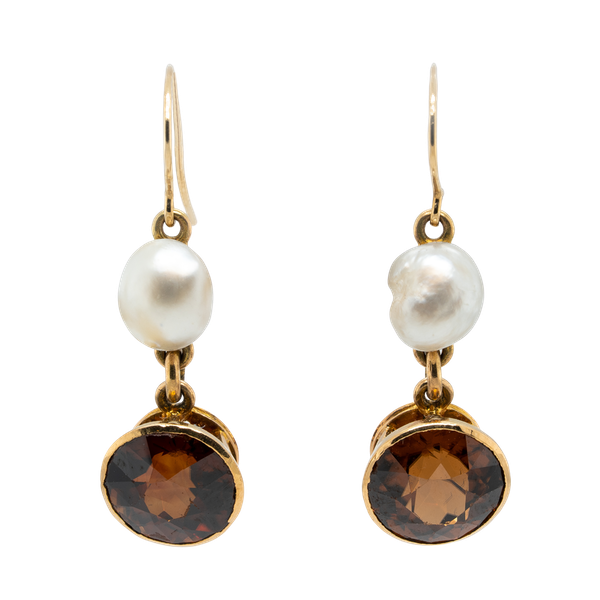 Natural orange zircon and natural pearl earrings. - image 1