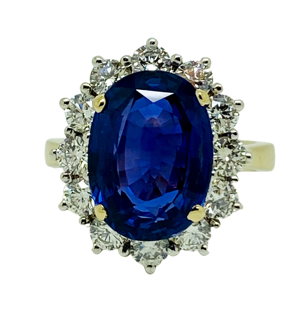 18K yellow/white gold 9.31ct Natural Blue Sapphire and 1.63ct Diamond Ring - image 1
