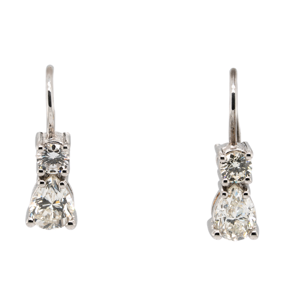Diamond and platinum  pear shape earrings - image 1